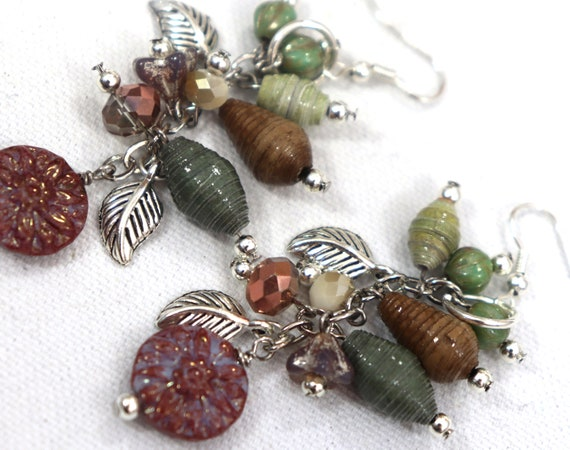 Mixed Media Earrings - Czech glass, polymer clay, paper and wood beads
