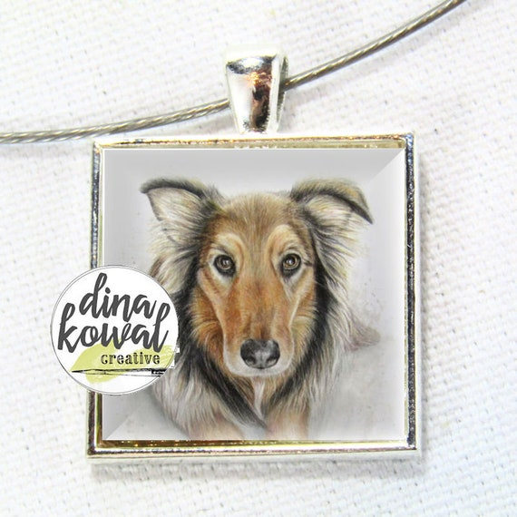 LAST ONE! Australian Shepherd dog - domed glass tile pendant necklace