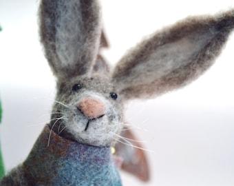 Needle Felted Animal , Scottish Hare , Needle Felted Hare , miniature animal , Home decor ,  Waldorf