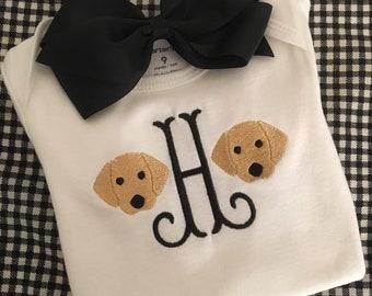 Monogrammed Golden Retriever Puppy Shirt or Bodysuit - All Letters Available! Retriever Shirt, Girl's Puppy Birthday Shirt, Puppy Birthday P