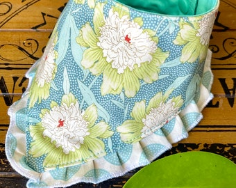 Girl Dog bandana with ruffles, floral dog bandana, Dog gift, pretty dog bandana dog bandana flowers, girly dog bandana, Tilda Fabric