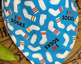 I Love Socks Dog bandana, Personalized Dog Bandana, Embroidered dog bandana, bandana Summer Dog, dog scarf, Retro Dog Bandana