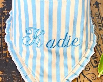 Retro Girl Dog bandana with ruffles,  Stripes dog bandana, Dog gift,  girly dog bandana, dress up dog Bandana, 50s Diner Dog Scarf