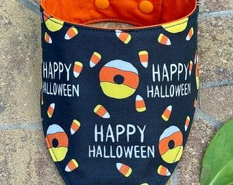 Happy Halloween Dog bandana, Candy Corn dog bandana, Halloween Donuts dog Bandana , dog scarf embroidered Bandana name, personalized Bandana