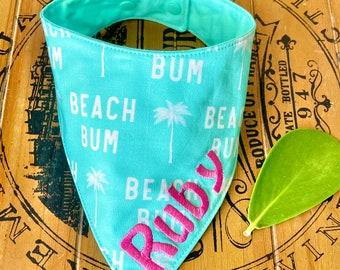 Beach Bum Dog bandana Beach Vacation dog bandana, bandana Beach Dog, Summer dog bandana, Ocean Dog Bandana, Personalized Dog Bandana
