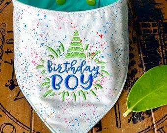 Birthday Boy Dog Bandana, embroidered Dog Birthday dog bandana, Puppy first Birthday, birthday Dude bandana, Dog Birthday gift