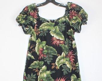 Vintage HILO HATTIE Multi Color Floral Design Hawaiian Dress Size Medium