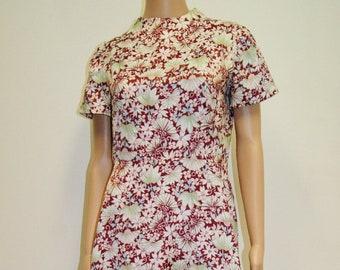 Vintage 70's Hawaiian Flower Print Disco Dress - Size Medium
