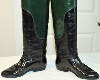 ca842e063 Vintage GUCCI 2 Tone Black Green Leather Riding Boots Size 5 M US - 35 B EU  - Made In Italy