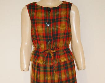 Vintage 50's 60's Plaid Pleated Skirt Vest Top Outfit by Abby Michael Size 4