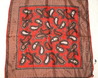 Vintage Scarf - 60s Ladies' Red Brown Tan Orange Paisley Acetate Scarf - Japan
