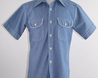 Vintage 70's Men's Sport-About Casual Blue Square Hem Shirt by Big Yank - Size M