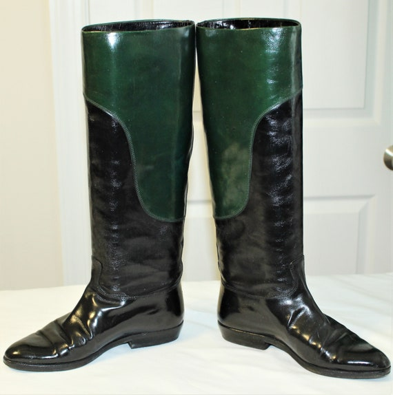 Green Leather Riding Boots Size
