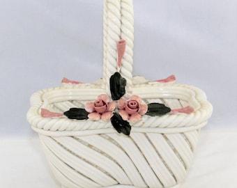 Vintage Nuova Capodimonte White Basket Pink Flowers