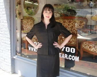 Vintage 1960's Black Silk Dress With Jacket by Branell Size 6