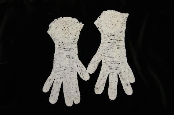 Vintage White Crochet Lace Gloves Flared Wrist Ga… - image 2