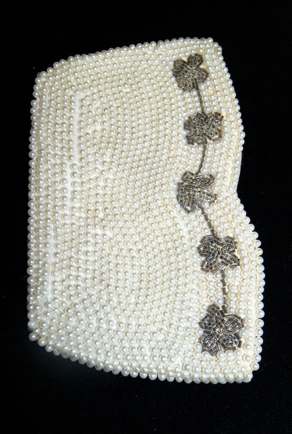 Vintage Synthetic Pearl Silver Tone Floral Bead E… - image 2