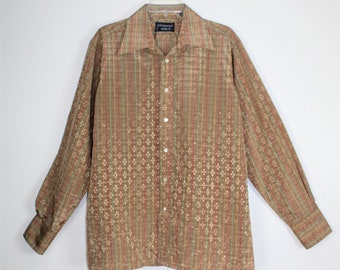 Vintage Men's Givenchy By CHESA  Polyester Long Sleeve Shirt Size Large