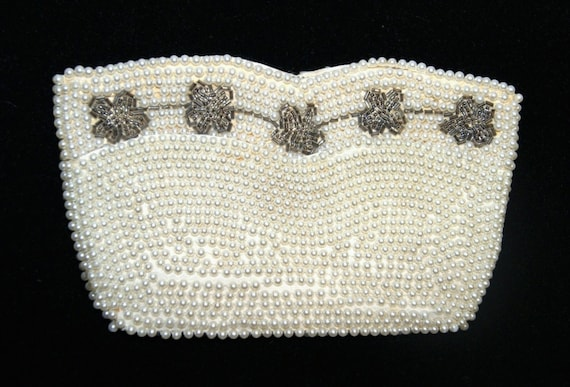 Vintage Synthetic Pearl Silver Tone Floral Bead E… - image 1