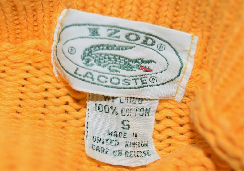 Vintage IZOD LACOSTE Sports Club Yellow Pullover Sweater Size S