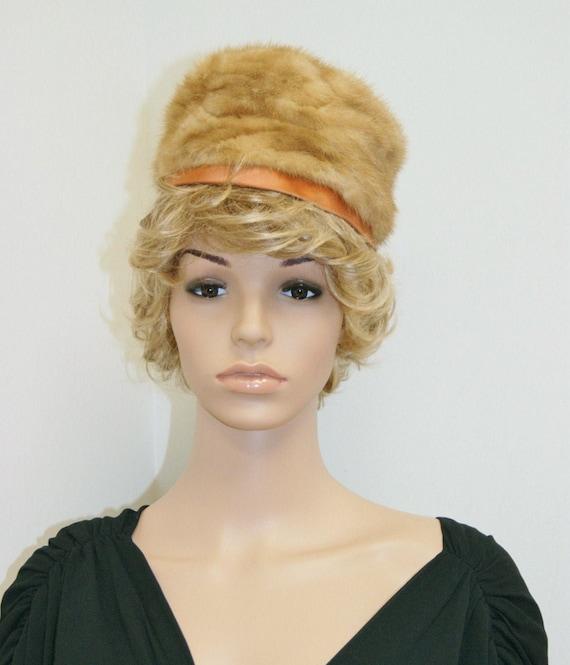Vintage 50s 60s Mink Fur Pill Box Hat by Dece