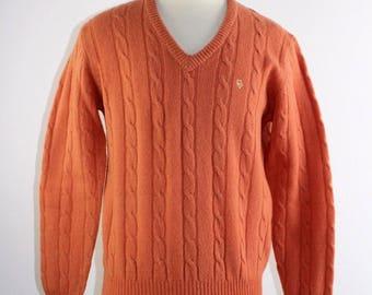 Vintage 80's Men's Christian Dior Monsieur Orange 100% Wool Pullover Sweater  M