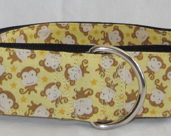 Tossed Monkeys Martingale Dog Collar - 1.5 or 2 Inch - yellow brown primates wildlife fun apes stars wildlife