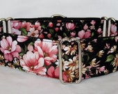 Sweet Garden Martingale Dog Collar - 1.5 or 2 Inch - pink white flowers floral love valentine spring