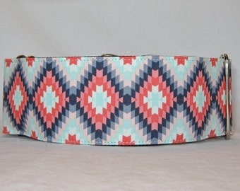 Blue Ikat Martingale Dog Collar - 1.5 or 2 Inch - turquoise coral navy geometric diamond pattern