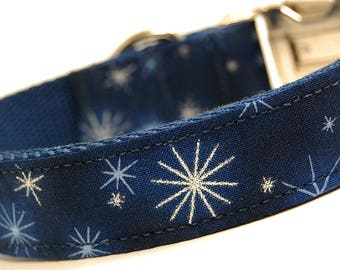 Handmade Dog Collar - Holiday Sparkle in Navy - Winter Dog Collar - Gold Accents - Blue Christmas Dog Collar with gold Snowflakes