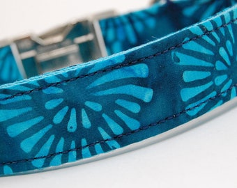Handmade Dog Collar - Teal Fireworks Collar - Custom Made Turquoise Dog Collar - Collar with Round Fun Designs