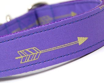 Handmade Dog Collar - Arrows Abound in Lavender - Purple Dog Collar Custom Made - With Golden Arrows - Modern Dog Collar