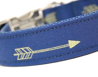 Handmade Dog Collar - Arrows Abound in Navy - Dark Blue Dog Collar Custom Made - With Golden Arrows - Modern Dog Collar