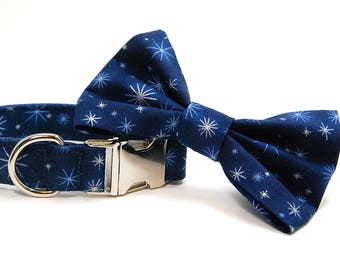 Handmade Dog Collar and Bow Tie Set - Holiday Shine in Blue - Custom Made Holiday Dog Collar with matching bowtie in Navy Blue Periwinkle