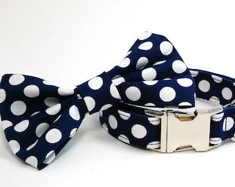 Handmade Dog Collar and Bow Tie Set - Navy Polka Dots - Custom Made Blue and White Polka Dot Dog Collar with bowtie - Collar with Dots