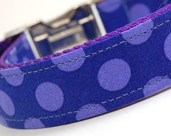 Handmade Dog Collar - Indigo Polka Dots - Custom Made Purple and Indigo Polka Dot Dog Collar - Collar with Dots