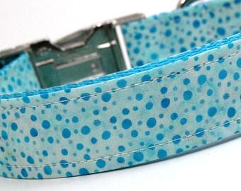 Handmade Dog Collar - Teal and Blue Dots Batik - Custom Made Polka Dot Dog Collar - Collar with Dots
