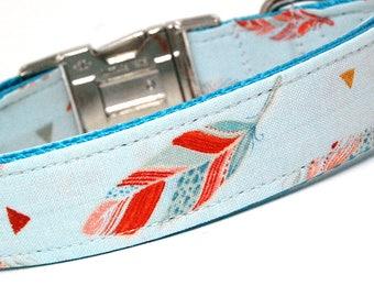 Handmade Dog Collar - Dream-Catcher Feathers in Blue - Native Dog Collar Custom Made - Chic Feathers - Modern Dog Collar