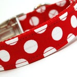 Handmade Dog Collar - Let's Live in the 50's - Custom Made Red and White Polka Dot Dog Collar - Collar with Dots