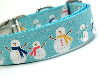 Handmade Dog Collar - Happy Snow People - Winter Dog Collar - Teal Collar with Snowmen and Scarves - Snowman collar