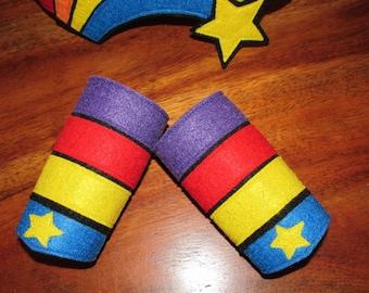 Rainbow Brite Inspired wrist cuffs / rainbow cuffs / Rainbow Brite / custom wrist cuffs