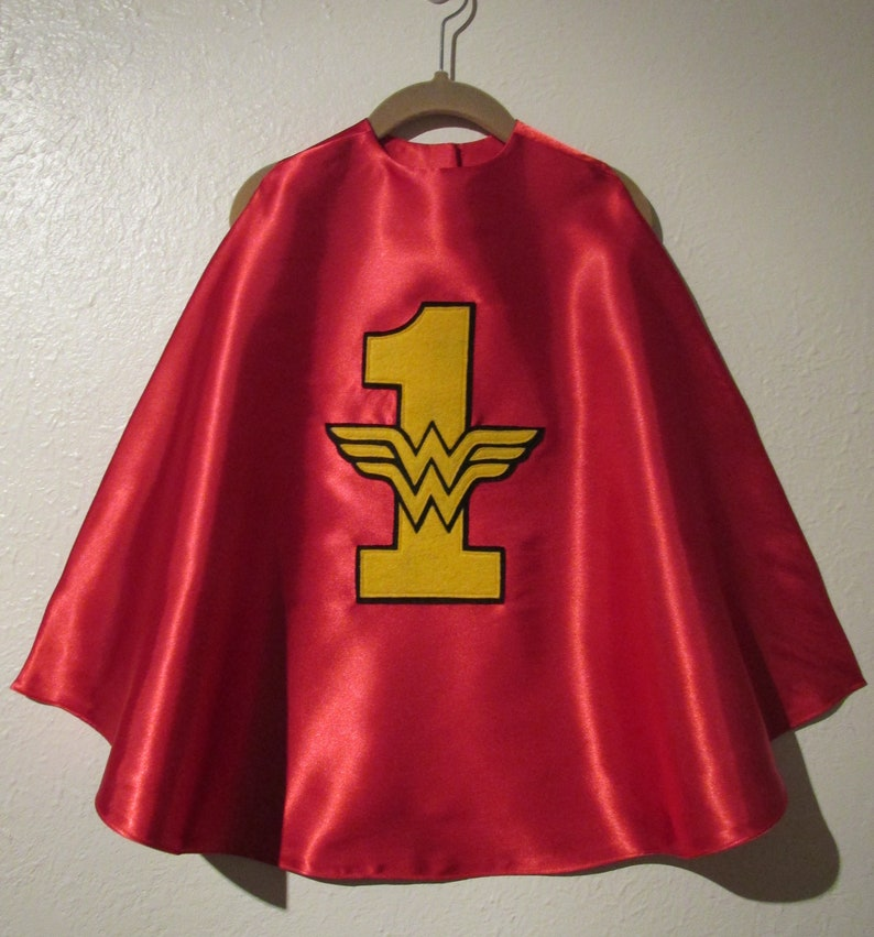 1st Year Super Hero Cape  One-der Woman Cape  Red Cape  Super hero Cape  Wonder Woman Cape