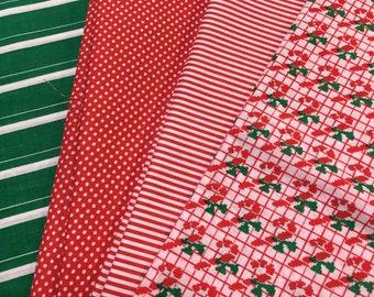 Christmas Fabric Candy Cane Stripes Polka Dot 3 yards