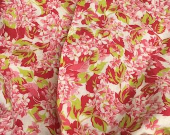 Vintage feedsack fabric lime pink floral