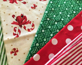 Christmas Fabric Lot 5 Prints Candy Cane Stripes Polka Dots Red Green