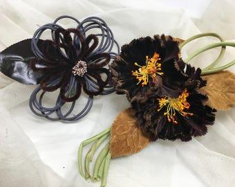 Antique Millinery Flower Corsage Velvet Pair