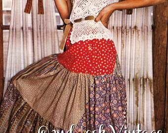 569dfb3c12 Vintage 1970s Sewing Pattern Peasant Gypsy Maxi Skirt Tiered Bias Swirl  Digital Download PDF