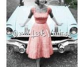 Vintage Crochet Pattern 1950s Lacy Evening Dress Circle Skirt Digital Download PDF