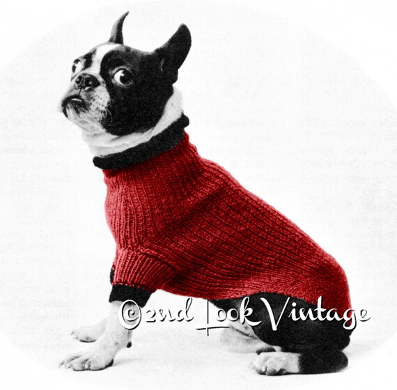 Vintage Knitting Pattern 1950s Mod Dog Beatnik Sweater Digital Etsy