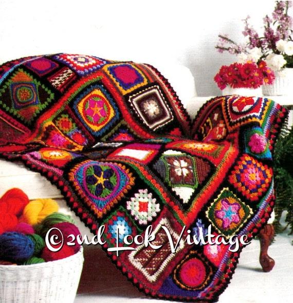Vintage Crochet patrón de 1970 abuela cuadrados afganos | Etsy